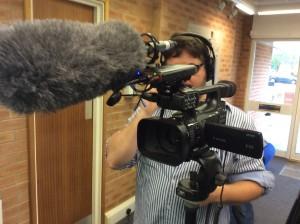 Camera mic and cameraman